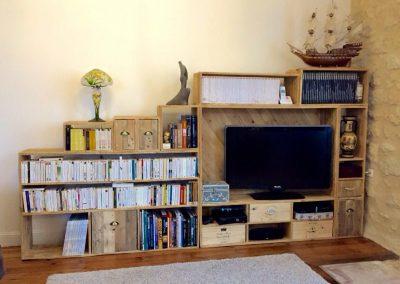 Meuble TV bibliothèque Xabi