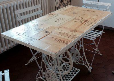 Table à dîner bois/métal Porcelaine