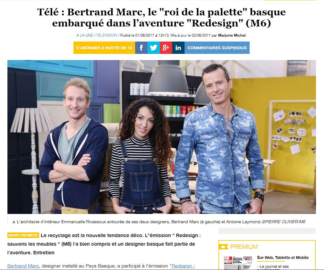 Bertrand Marc - Redesign - Article Sud-ouest 01-06-2017