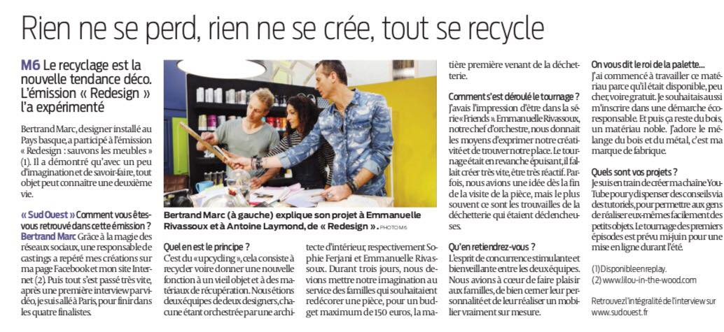 Bertrand Marc - Redesign - Article Sud-ouest 02-06-2017