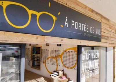 Coffrage bois devanture magasin - commerces -professionnels commerces magasins - Optique Bidart