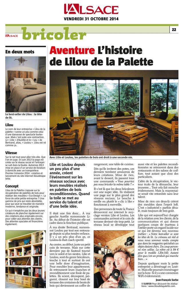 Lilou in the Wood - Article L'Alsace - 31-10-2014