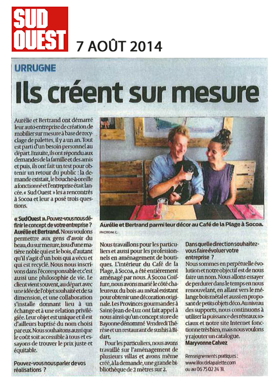 Lilou in the Wood - Article Sud-ouest 07-08-2014