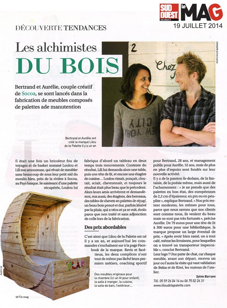 Lilou in the Wood - Article Sud-ouest Mag 19-07-2014