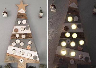 Sapin Noël en bois avec luminaires