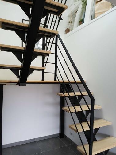 Escalier bois-métal - Décoration originale sur mesure en bois