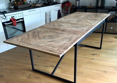 Table à diner extensible bois métal Bienne