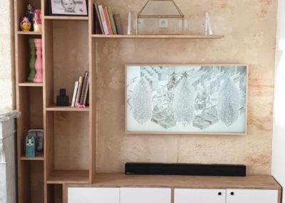 Meuble TV avec bibliothèque étagères intégréese