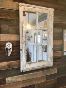 Lilou in the Wood - Création bois Atelier Showroom - Miroir upcycling porte fenêtre